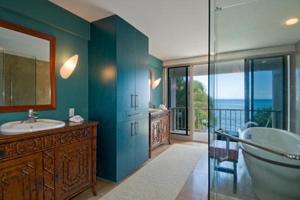 Master Bathroom looks out on ocean