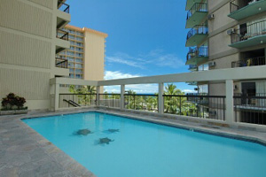 Pool at Waikiki Vacation Condo building