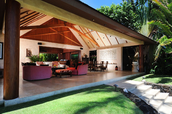 Covered lanai by garden