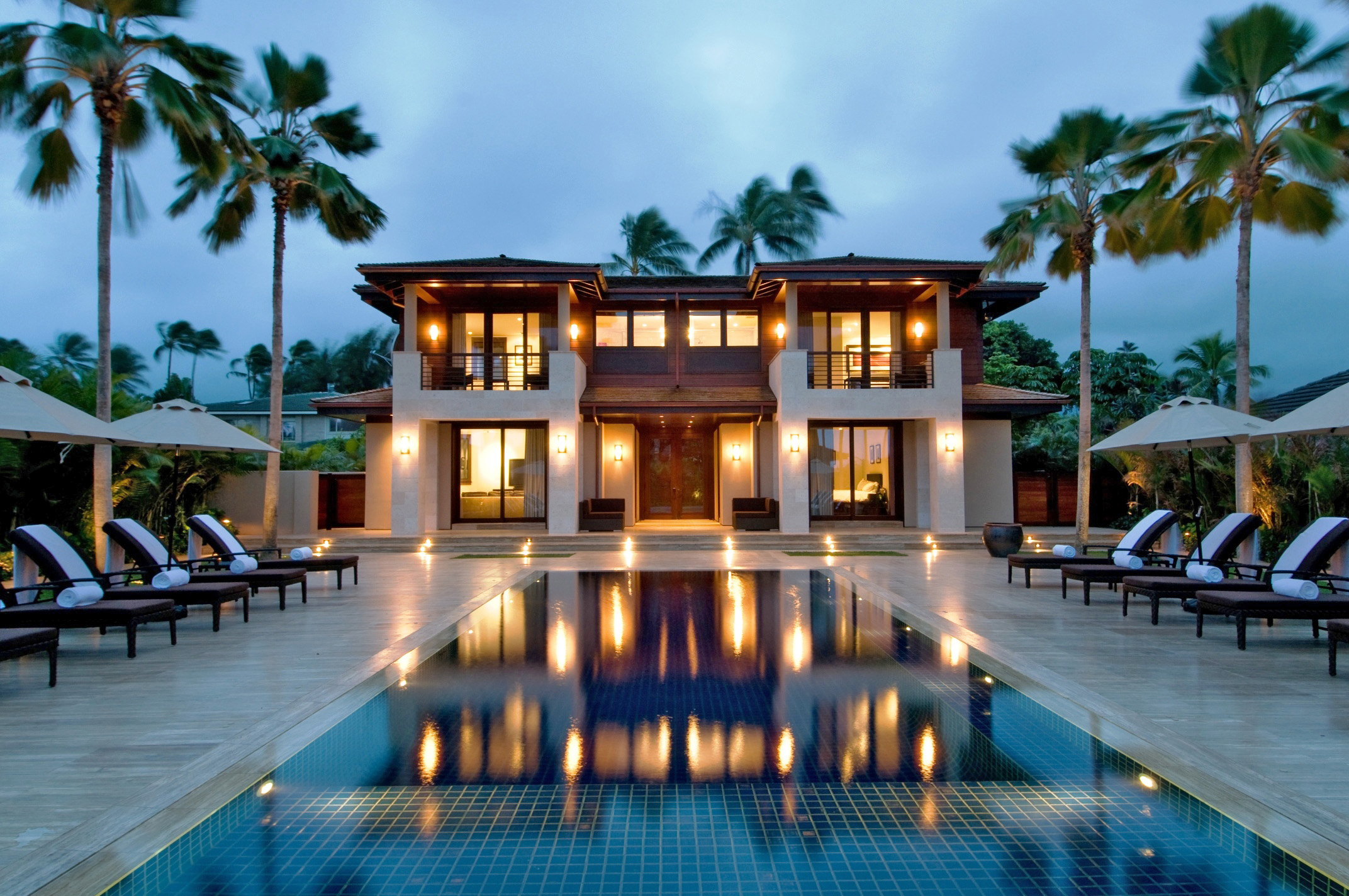 Kailua Luxury Beachfront Vacation Home At Night